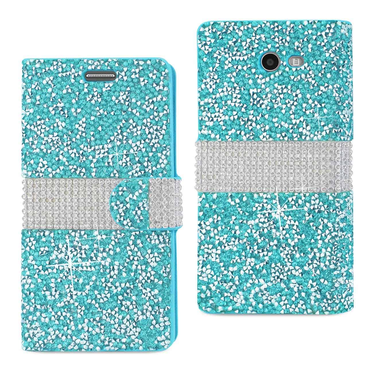 Samsung Galaxy J3 Emerge Diamond Rhinestone Wallet Case In Blue