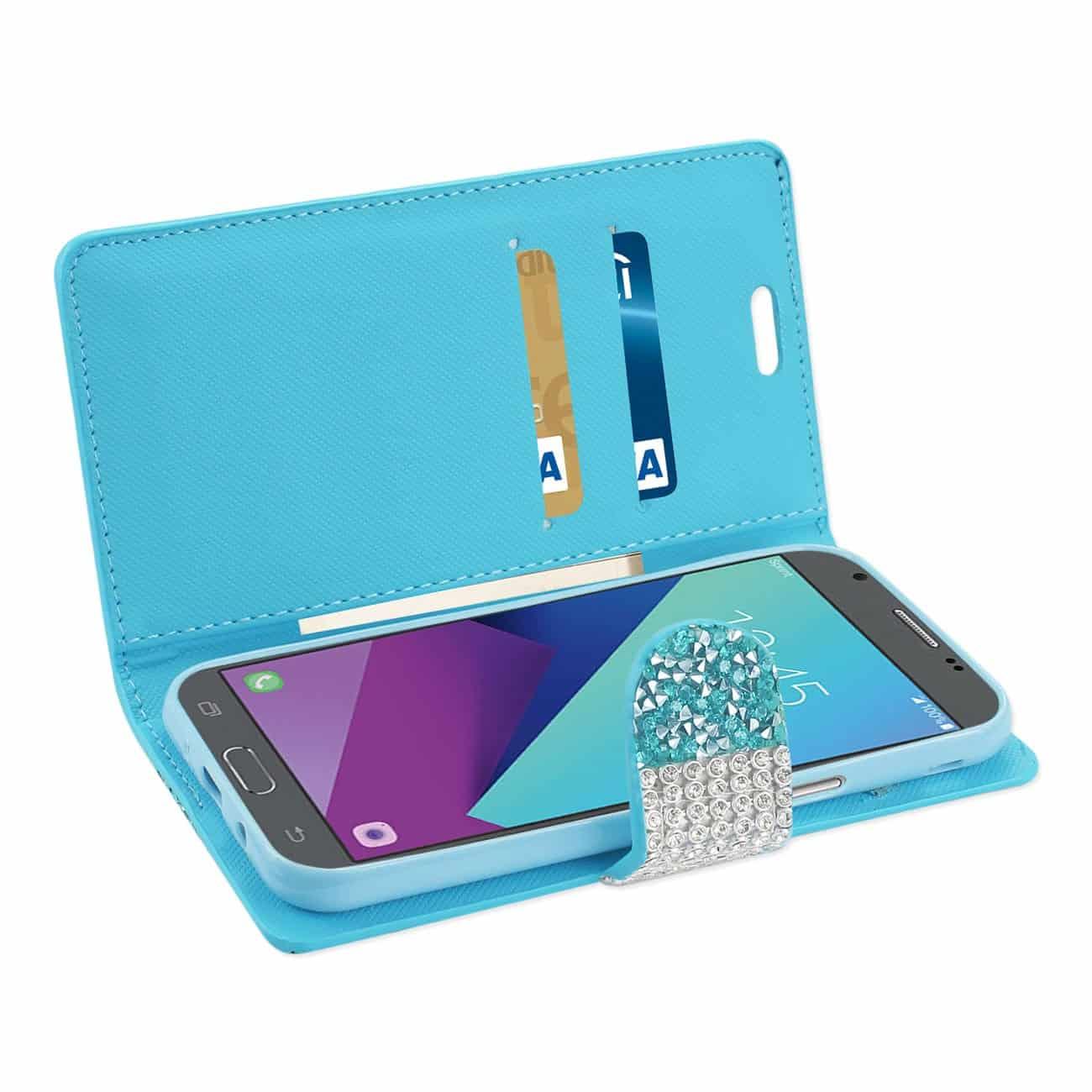 Samsung Galaxy J3 Emerge Diamond Rhinestone Wallet Case In Blue