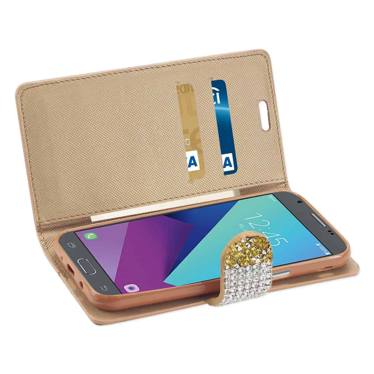 Samsung Galaxy J3 Emerge Diamond Rhinestone Wallet Case In Gold