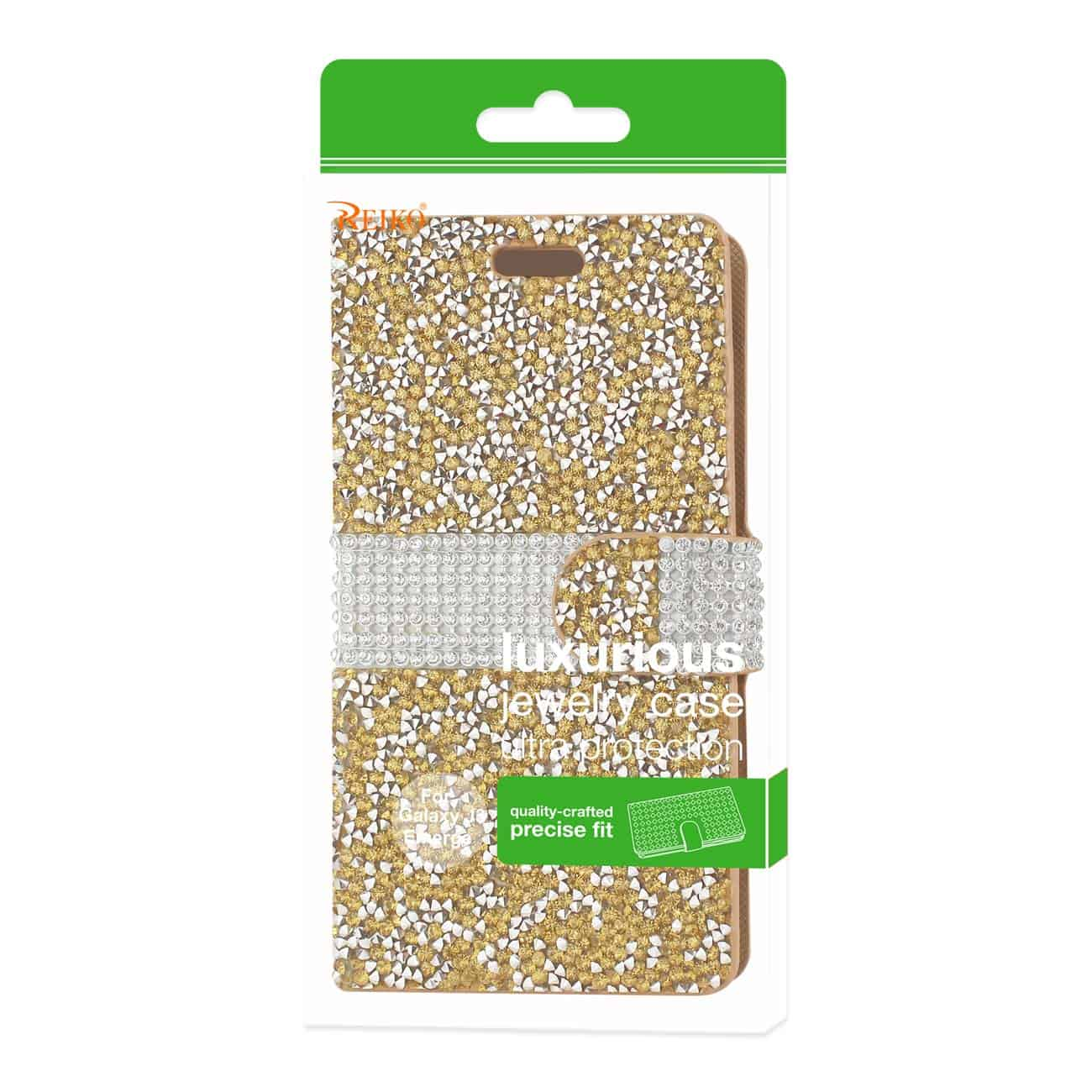 Samsung Galaxy J3 Emerge Diamond Rhinestone Wallet Case In Gold