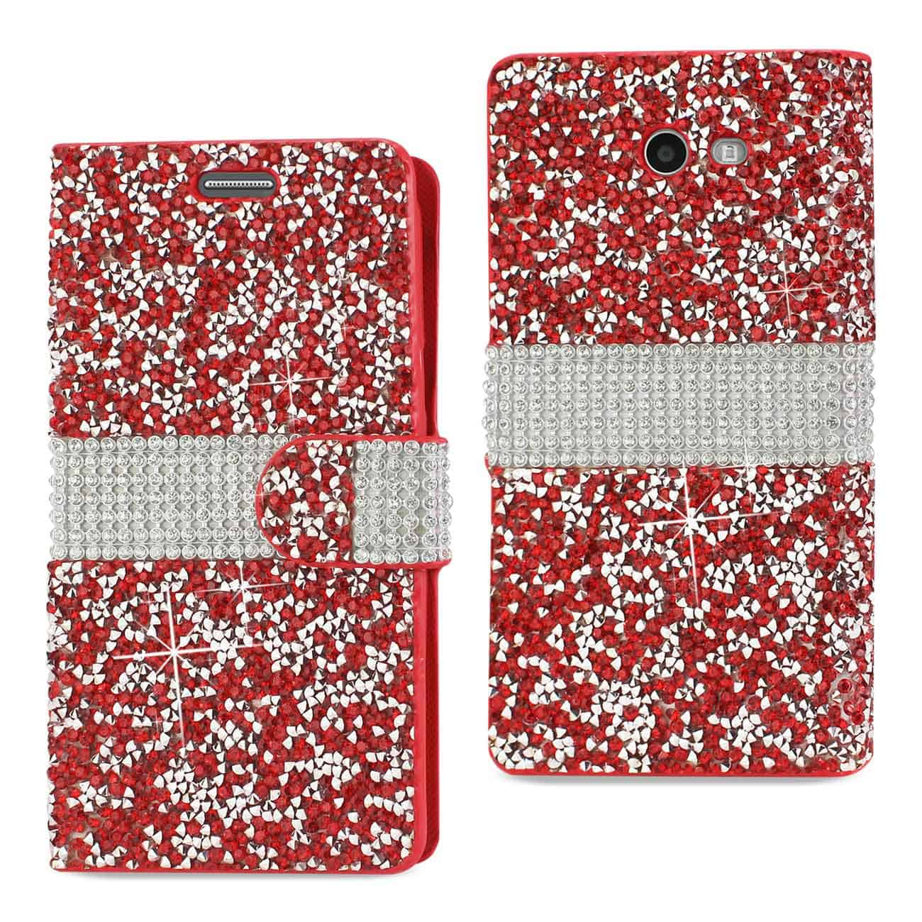 Samsung Galaxy J3 Emerge Diamond Rhinestone Wallet Case In Red