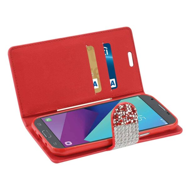 Samsung Galaxy J3 Emerge Diamond Rhinestone Wallet Case In Red