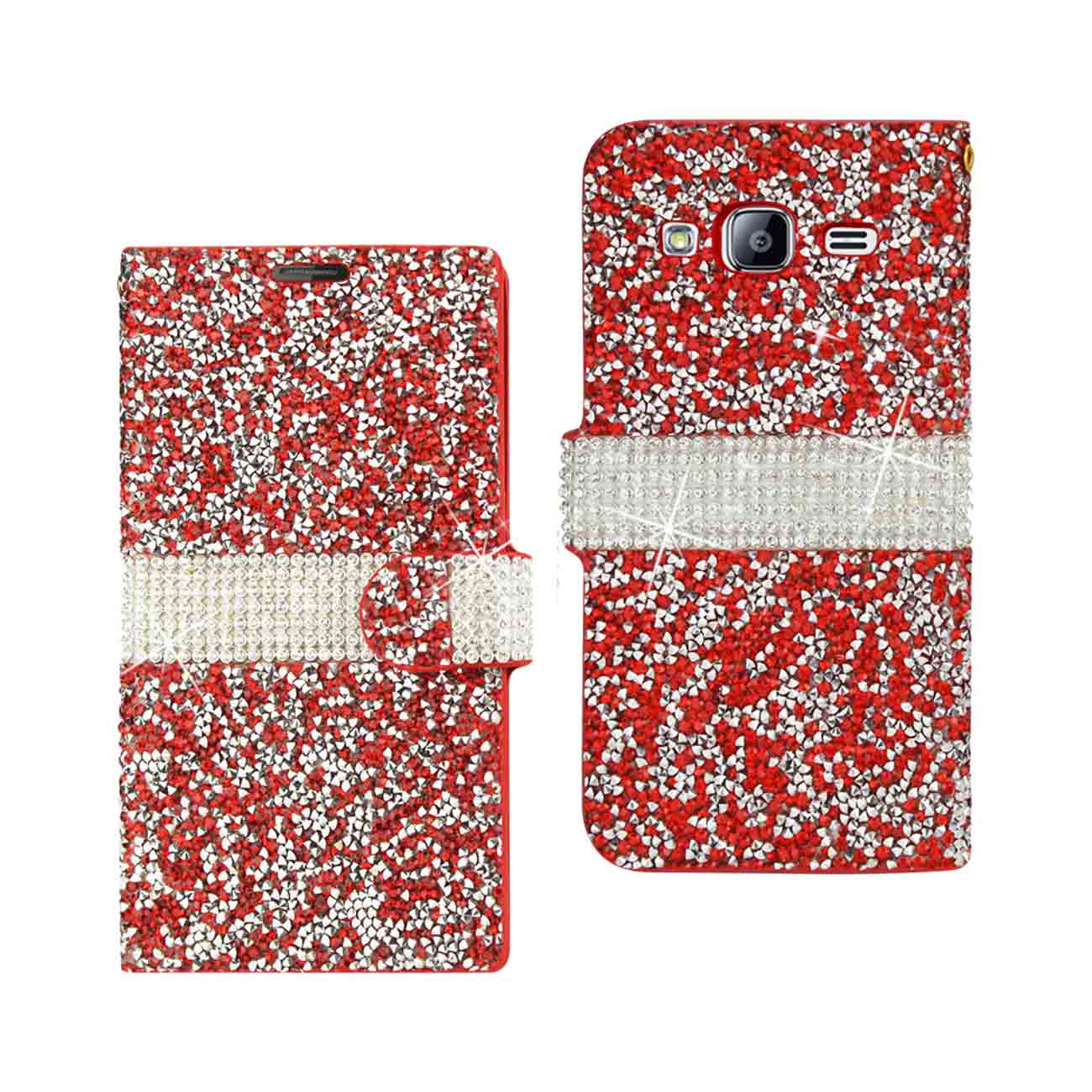 SAMSUNG GALAXY J3 JEWELRY RHINESTONE WALLET CASE IN RED