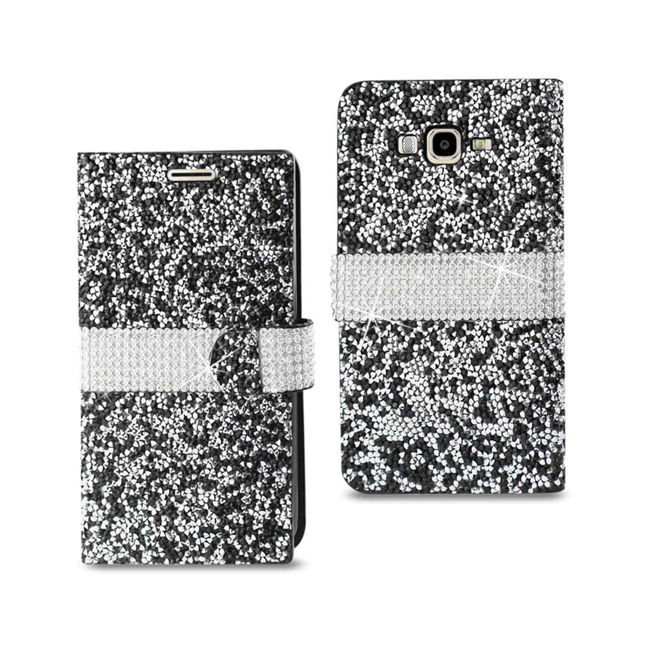 SAMSUNG GALAXY J7 JEWELRY RHINESTONE WALLET CASE IN BLACK