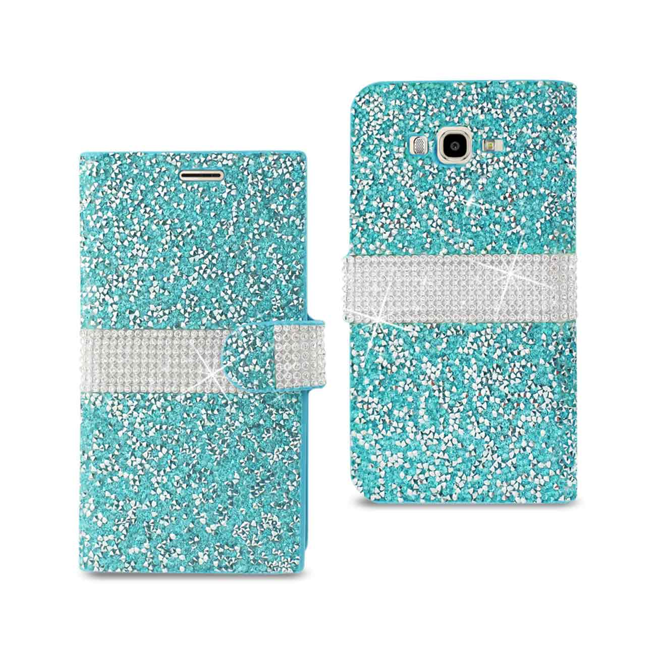 SAMSUNG GALAXY J7 JEWELRY RHINESTONE WALLET CASE IN BLUE