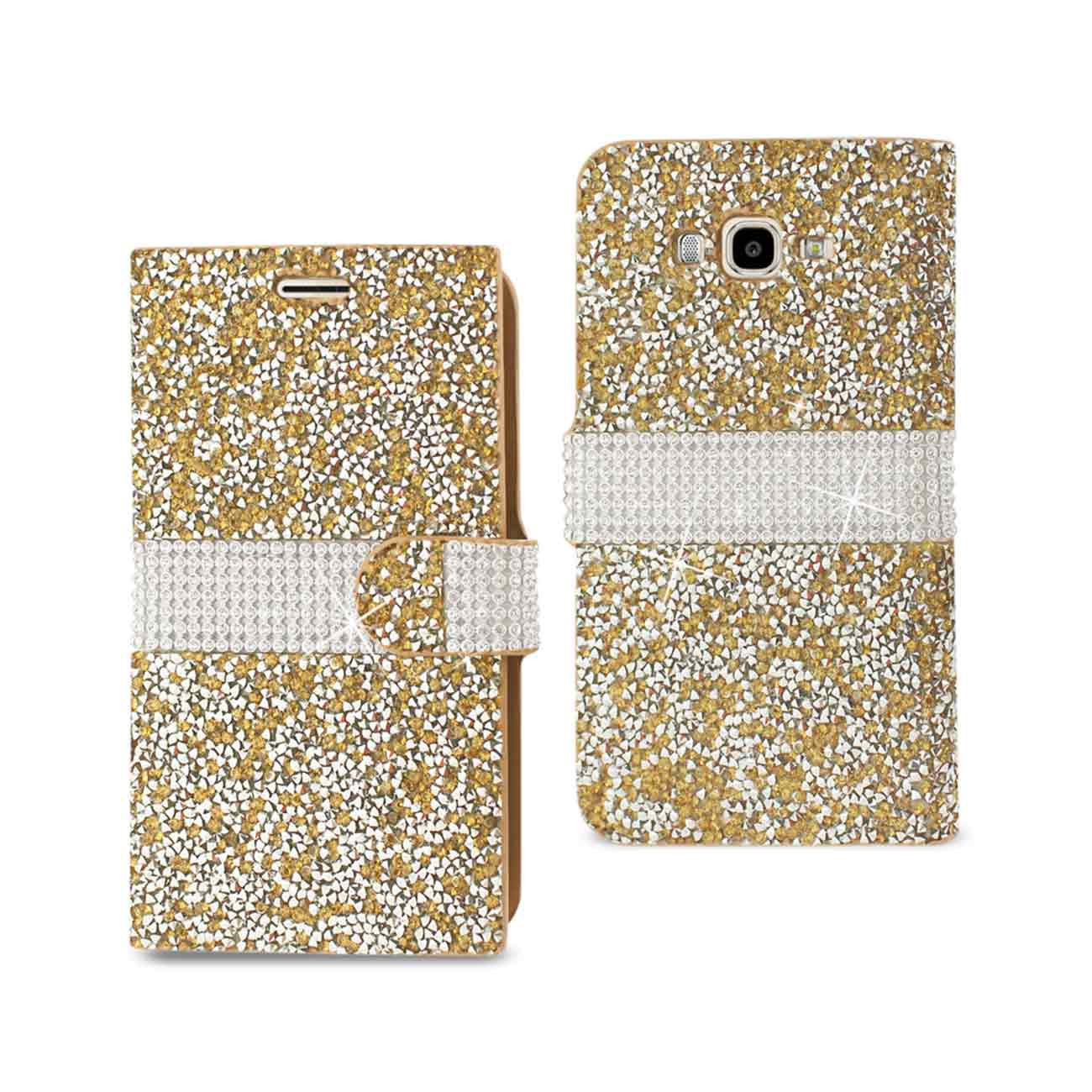 SAMSUNG GALAXY J7 JEWELRY RHINESTONE WALLET CASE IN GOLD