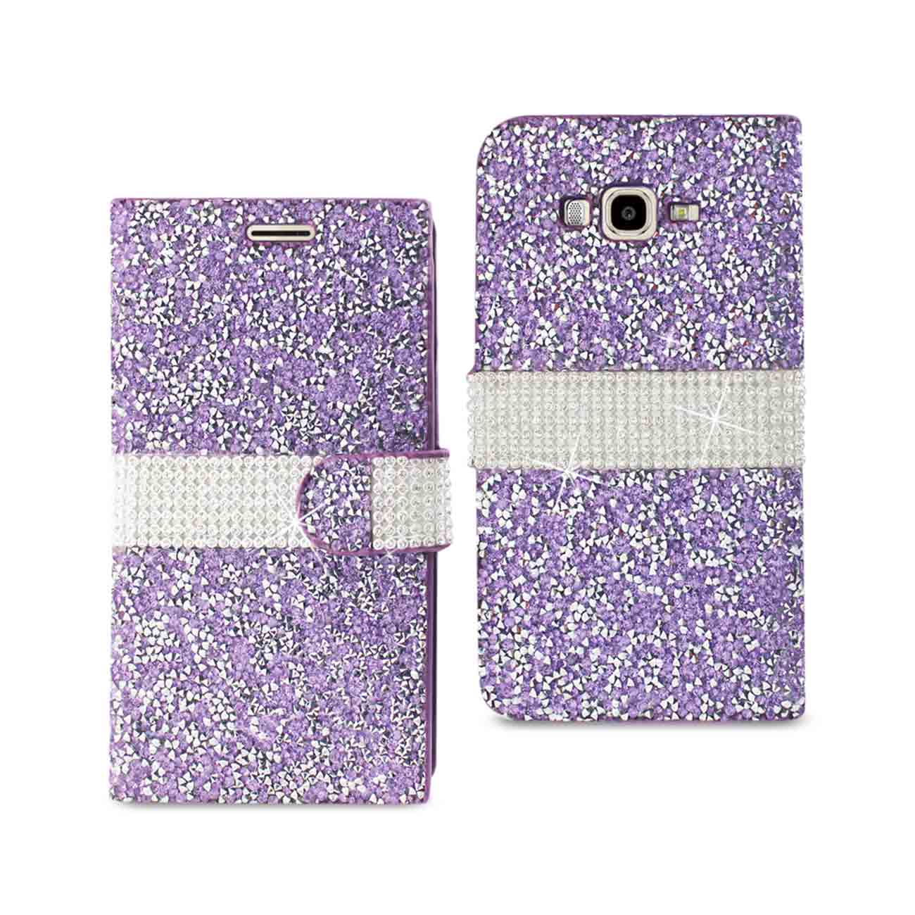 SAMSUNG GALAXY J7 JEWELRY RHINESTONE WALLET CASE IN PURPLE