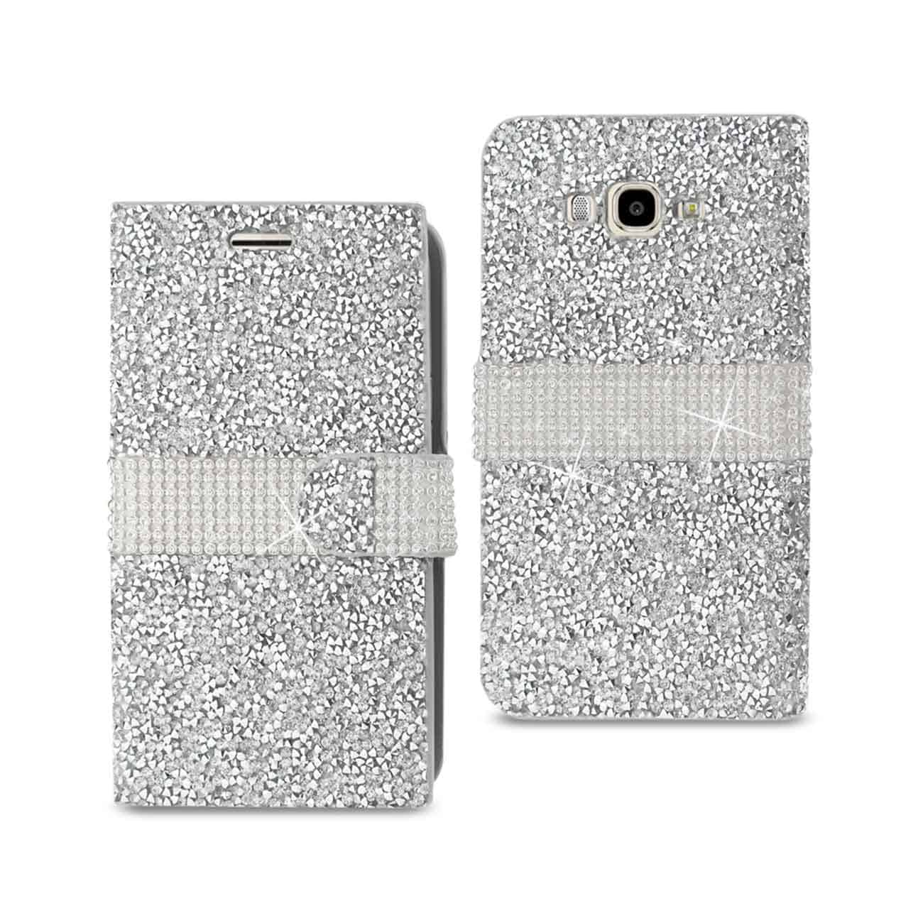 SAMSUNG GALAXY J7 JEWELRY RHINESTONE WALLET CASE IN SILVER