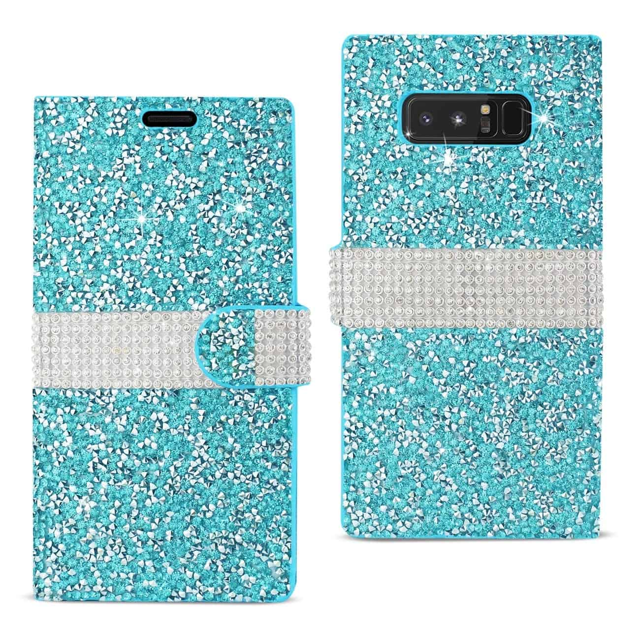 SAMSUNG GALAXY NOTE 8 DIAMOND RHINESTONE WALLET CASE IN BLUE