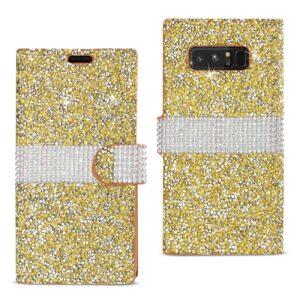 SAMSUNG GALAXY NOTE 8 DIAMOND RHINESTONE WALLET CASE IN GOLD