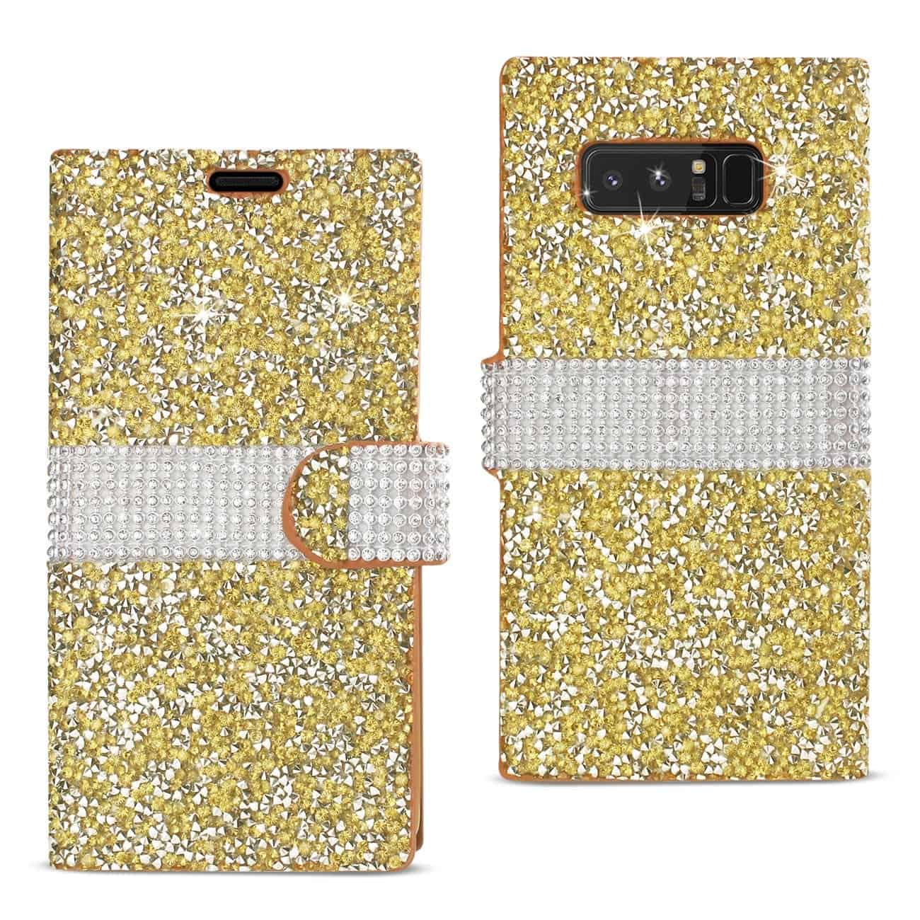 SAMSUNG GALAXY NOTE 8 DIAMOND RHINESTONE WALLET CASE IN GOLD