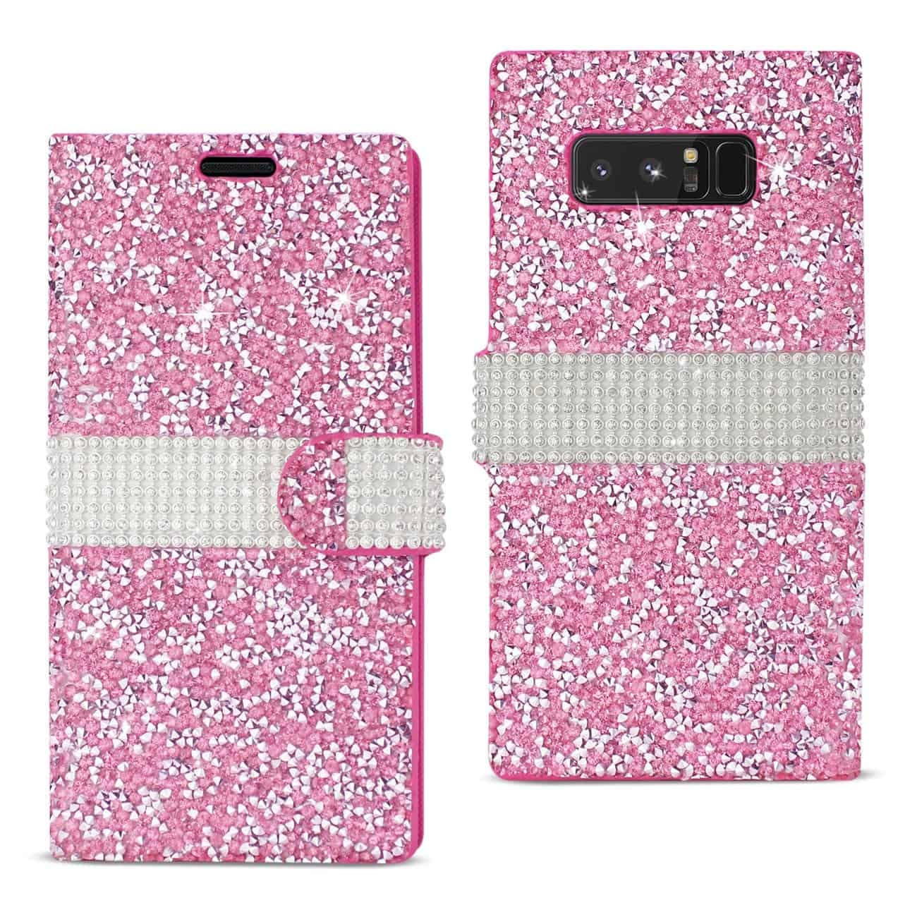 SAMSUNG GALAXY NOTE 8 DIAMOND RHINESTONE WALLET CASE IN PINK