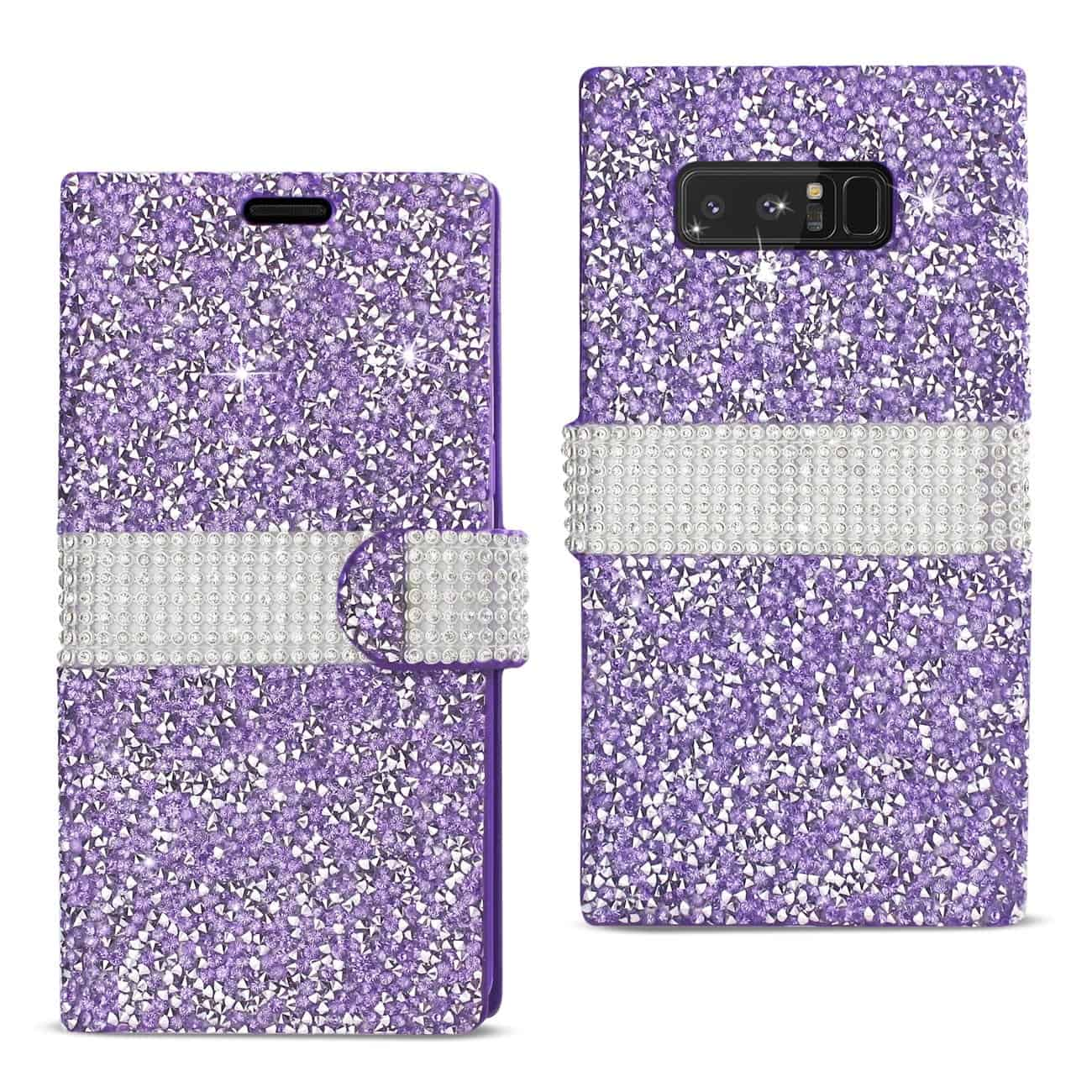 SAMSUNG GALAXY NOTE 8 DIAMOND RHINESTONE WALLET CASE IN PURPLE