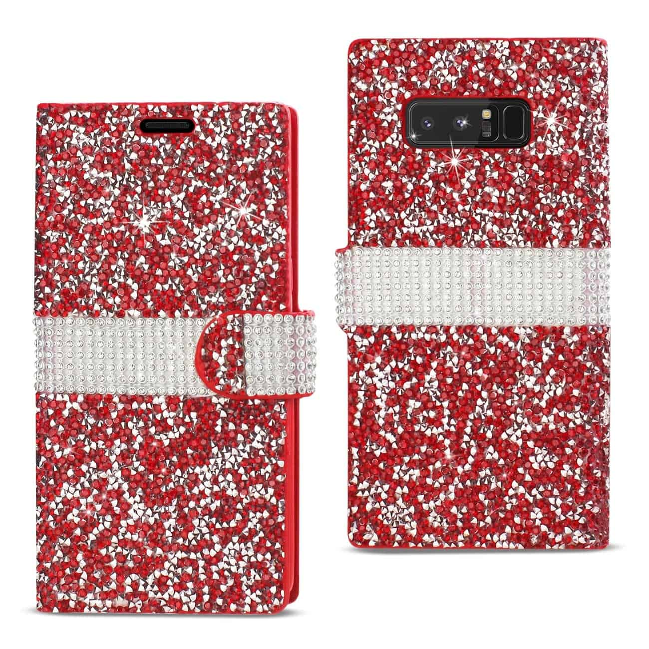 SAMSUNG GALAXY NOTE 8 DIAMOND RHINESTONE WALLET CASE IN RED