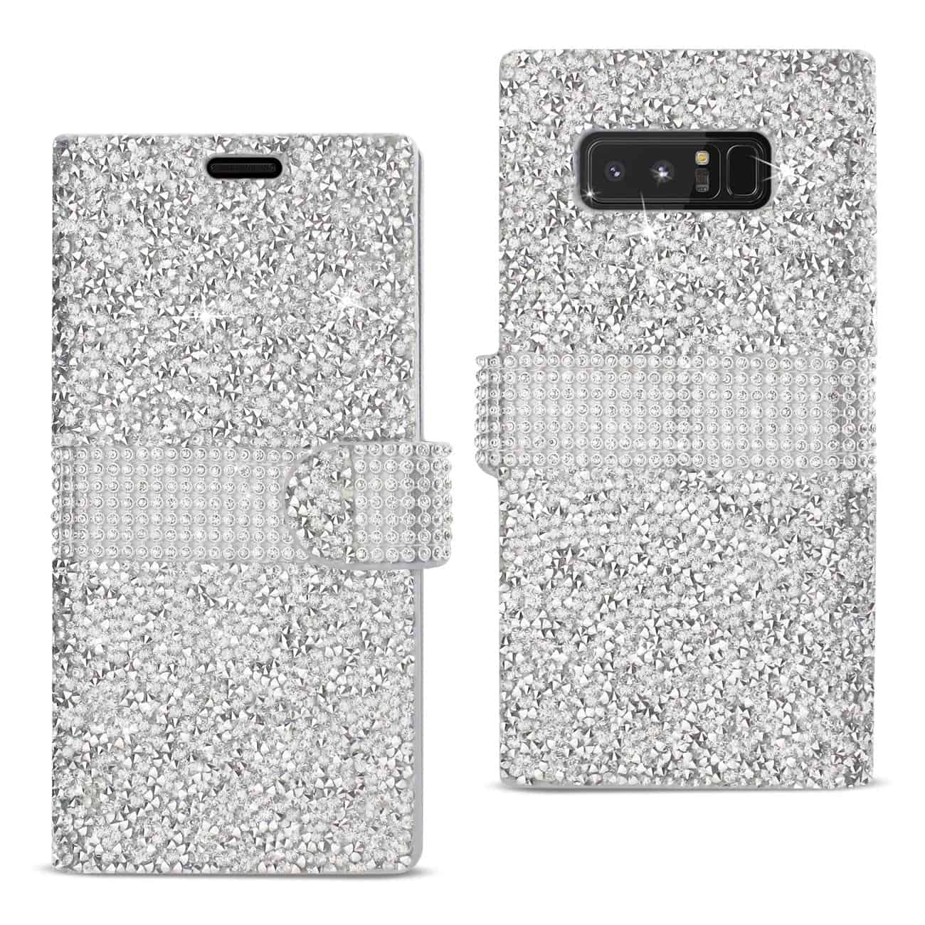 SAMSUNG GALAXY NOTE 8 DIAMOND RHINESTONE WALLET CASE IN SILVER