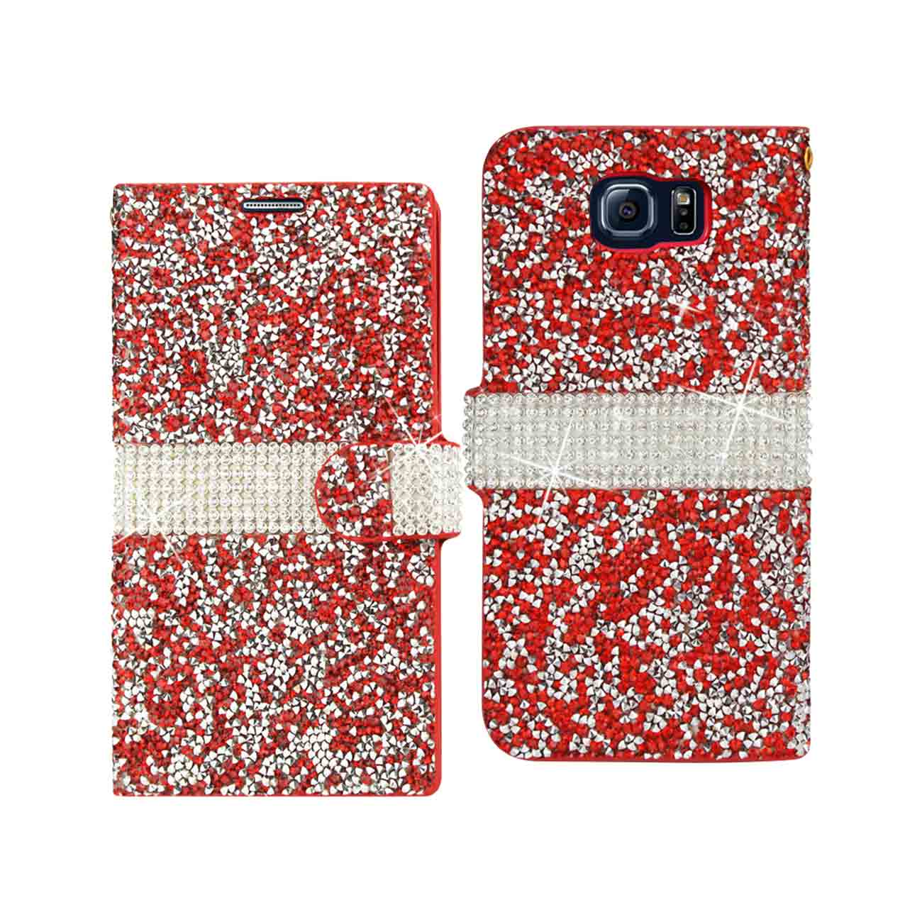 SAMSUNG GALAXY S6 JEWELRY RHINESTONE WALLET CASE IN RED