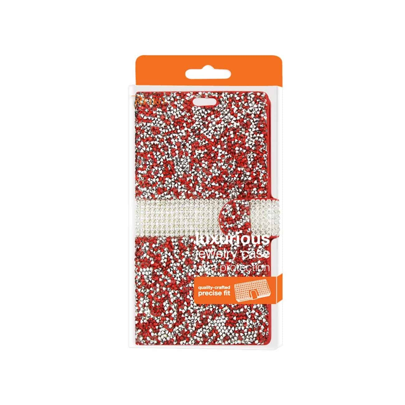 SAMSUNG GALAXY S7 JEWELRY RHINESTONE WALLET CASE IN RED
