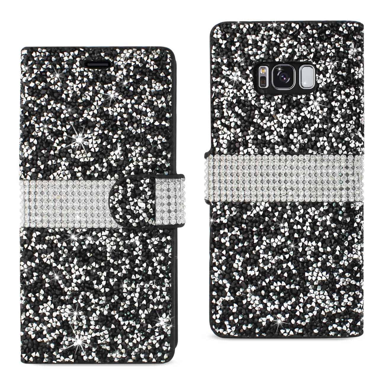 SAMSUNG GALAXY S8/ SM DIAMOND RHINESTONE WALLET CASE IN BLACK