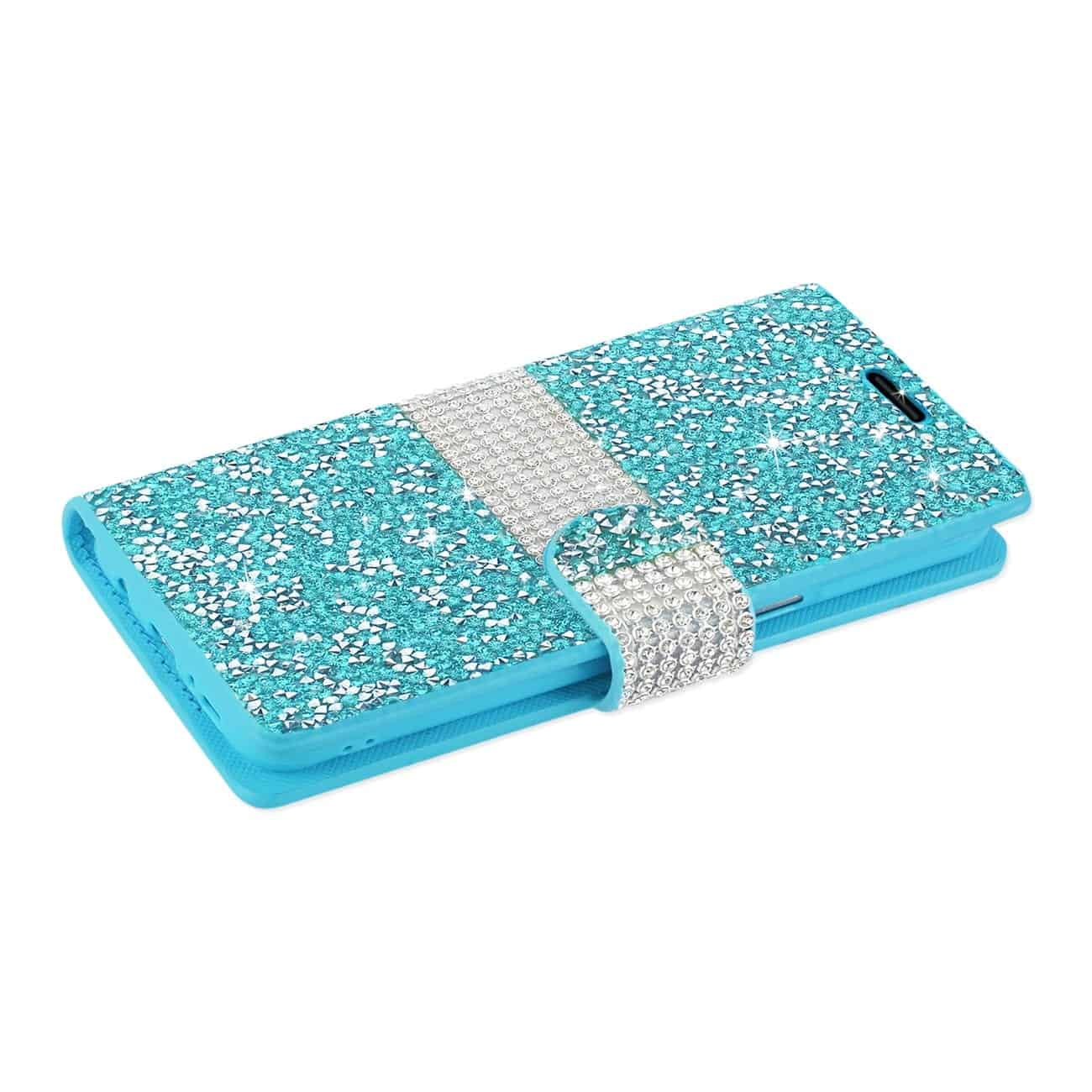 SAMSUNG GALAXY S8/ SM DIAMOND RHINESTONE WALLET CASE IN BLUE