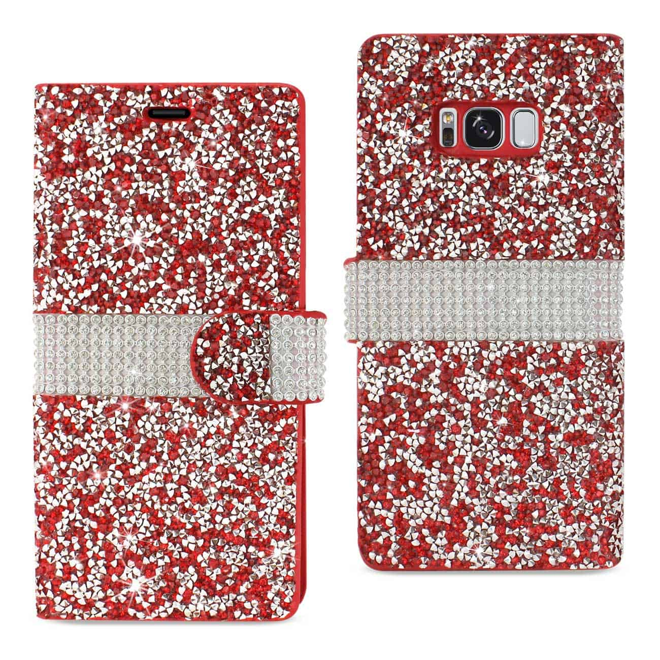 SAMSUNG GALAXY S8/ SM DIAMOND RHINESTONE WALLET CASE IN RED