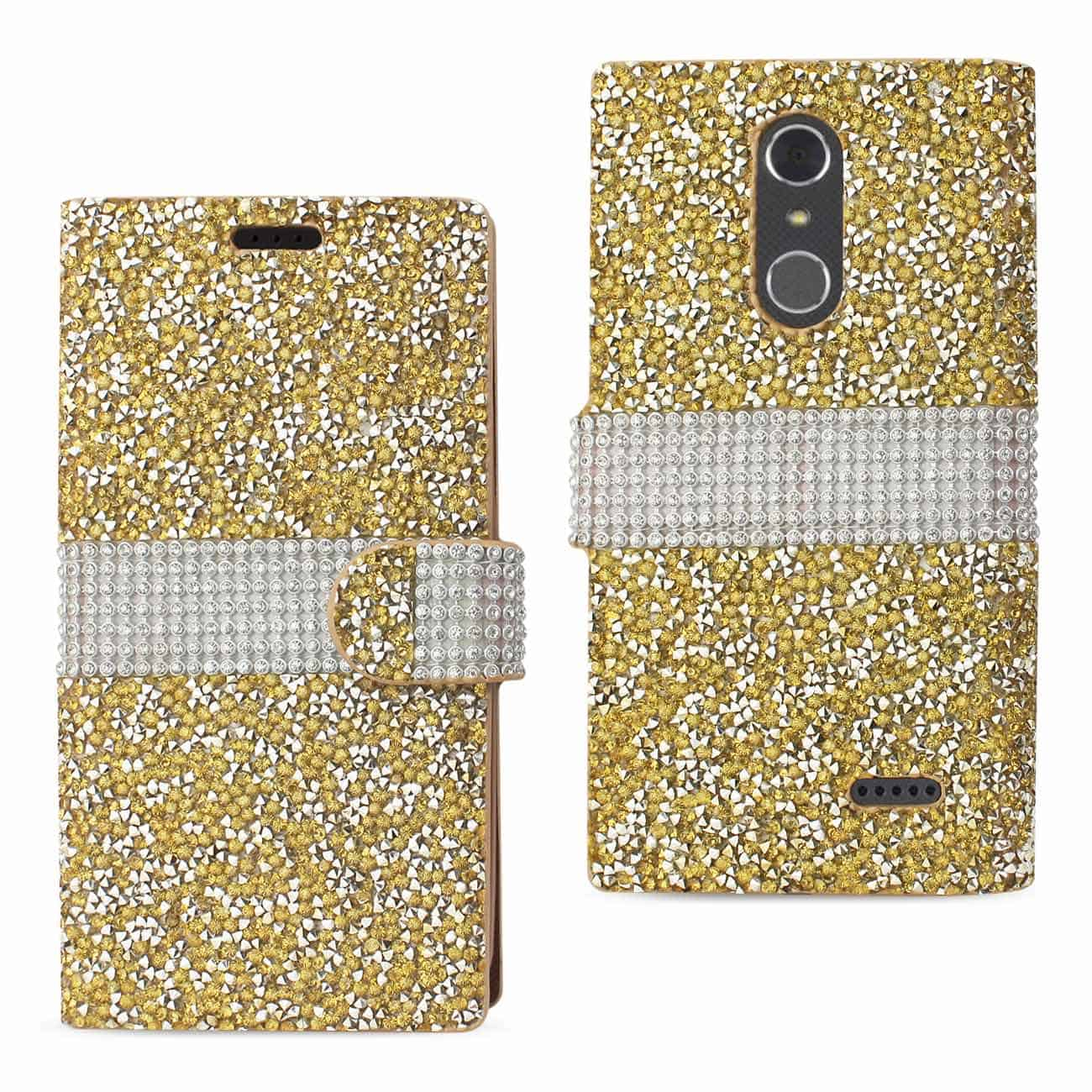 GRAND X 4 DIAMOND RHINESTONE WALLET CASE IN GOLD