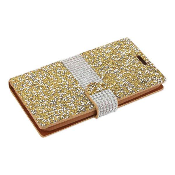 GRAND X 4 DIAMOND RHINESTONE WALLET CASE IN GOLD