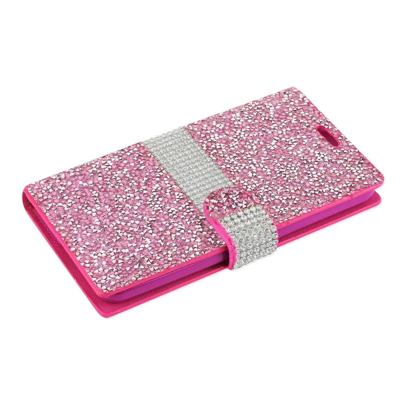 GRAND X 4 DIAMOND RHINESTONE WALLET CASE IN PINK
