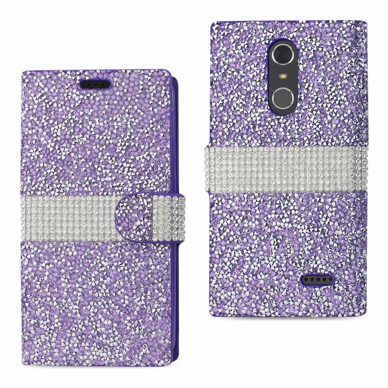 GRAND X 4 DIAMOND RHINESTONE WALLET CASE IN PURPLE