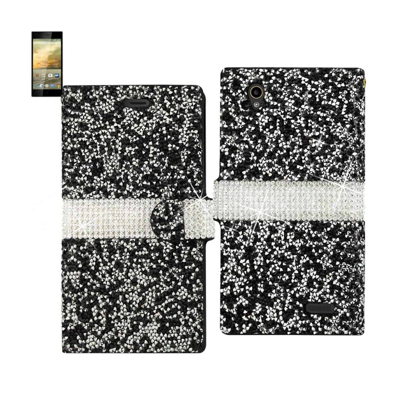 ZTE WARP ELITE JEWELRY RHINESTONE WALLET CASE IN BLACK