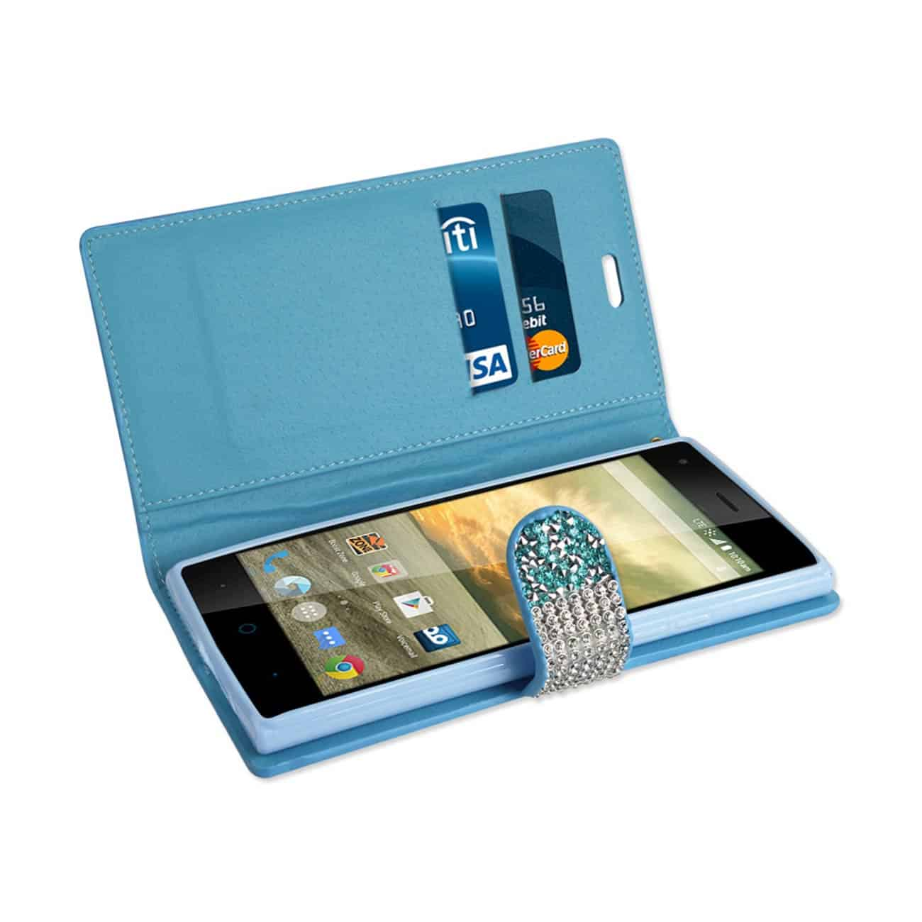 ZTE WARP ELITE JEWELRY RHINESTONE WALLET CASE IN BLUE
