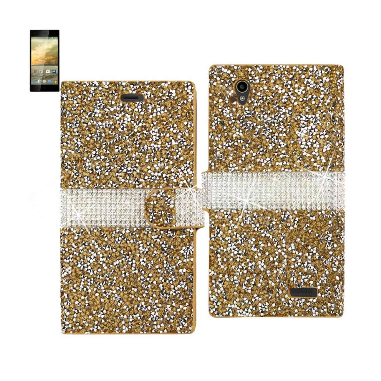 ZTE WARP ELITE JEWELRY RHINESTONE WALLET CASE IN GOLD