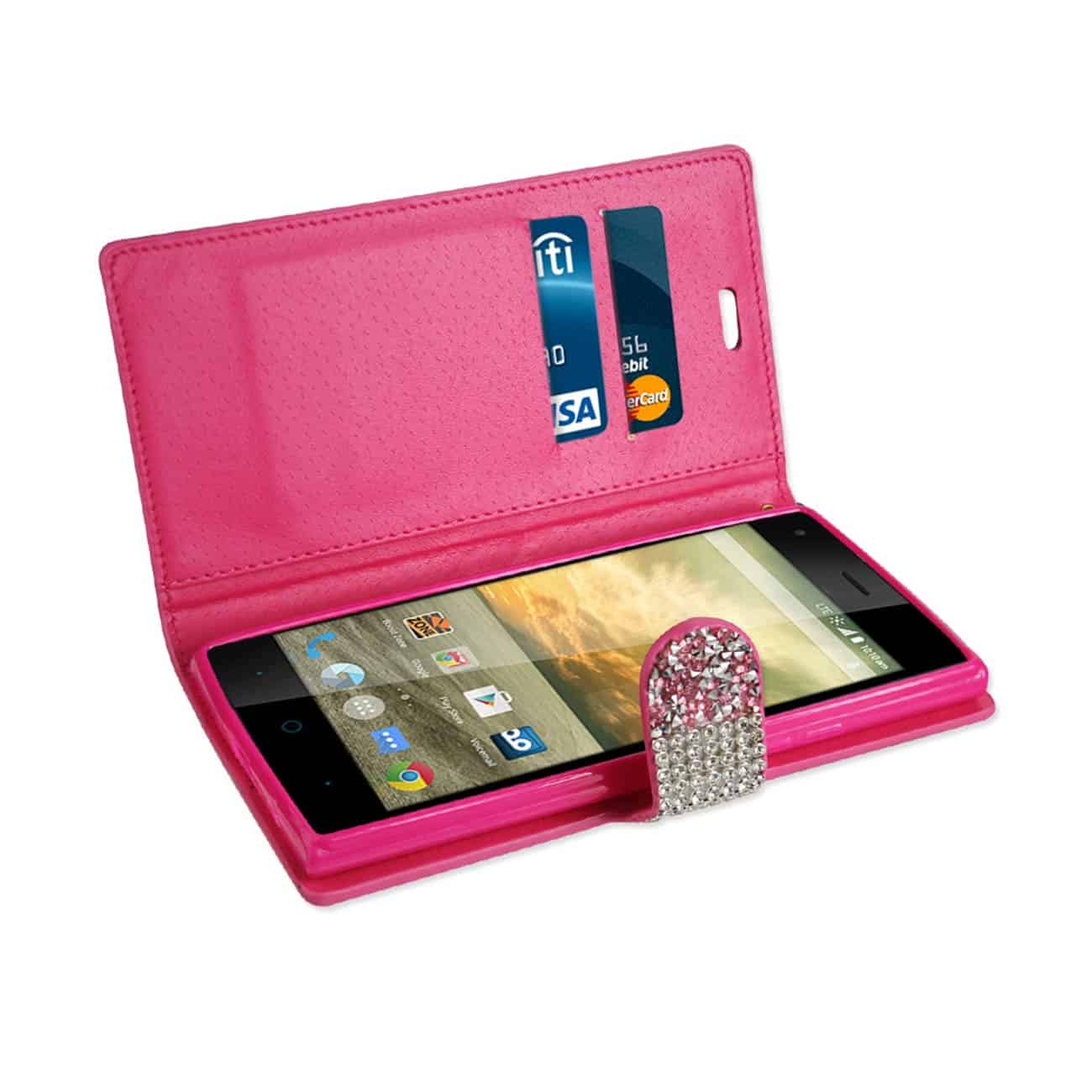 ZTE WARP ELITE JEWELRY RHINESTONE WALLET CASE IN PINK