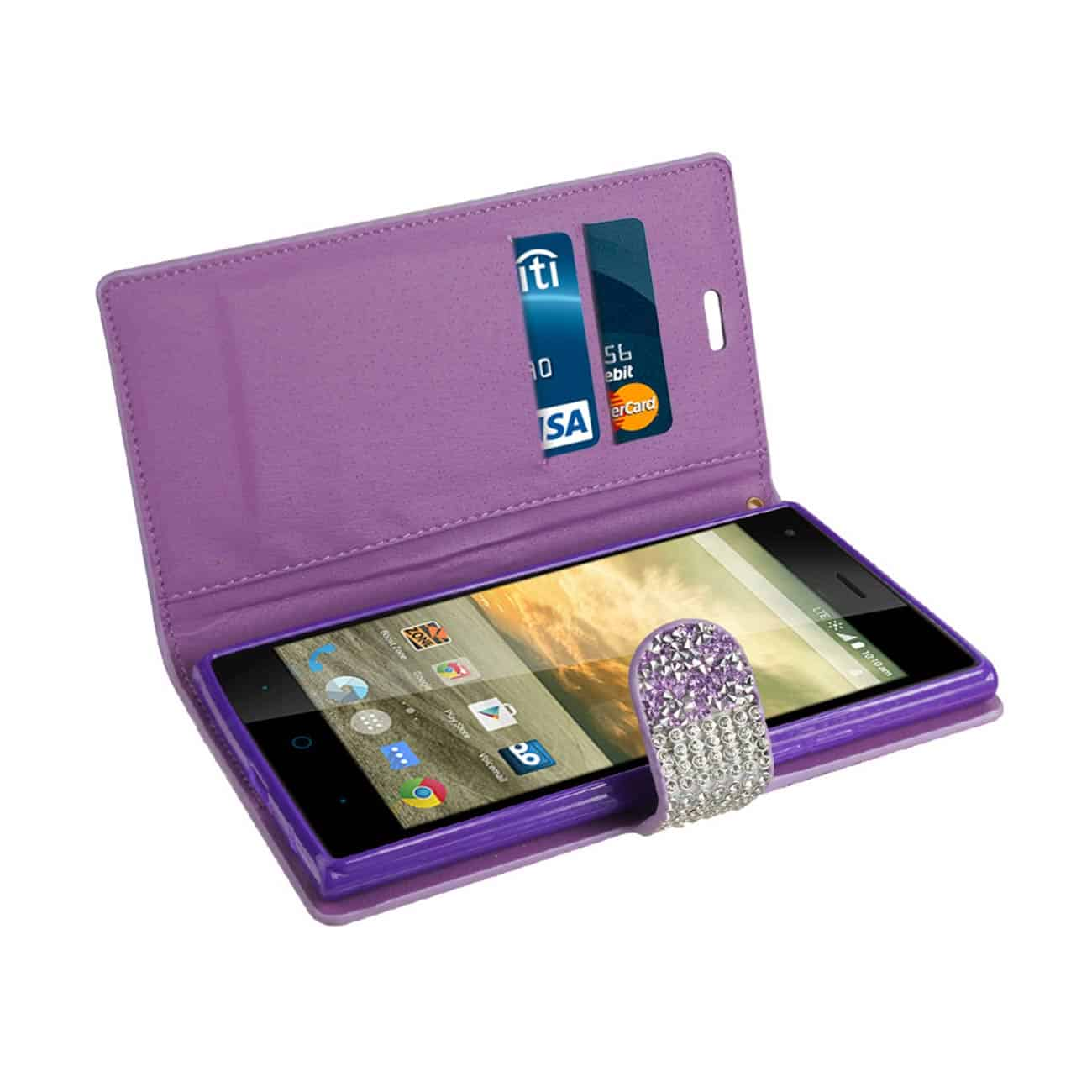ZTE WARP ELITE JEWELRY RHINESTONE WALLET CASE IN PURPLE