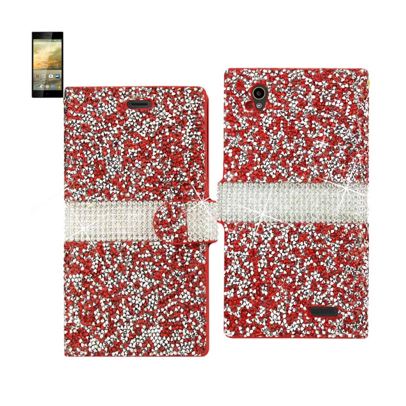 ZTE WARP ELITE JEWELRY RHINESTONE WALLET CASE IN RED