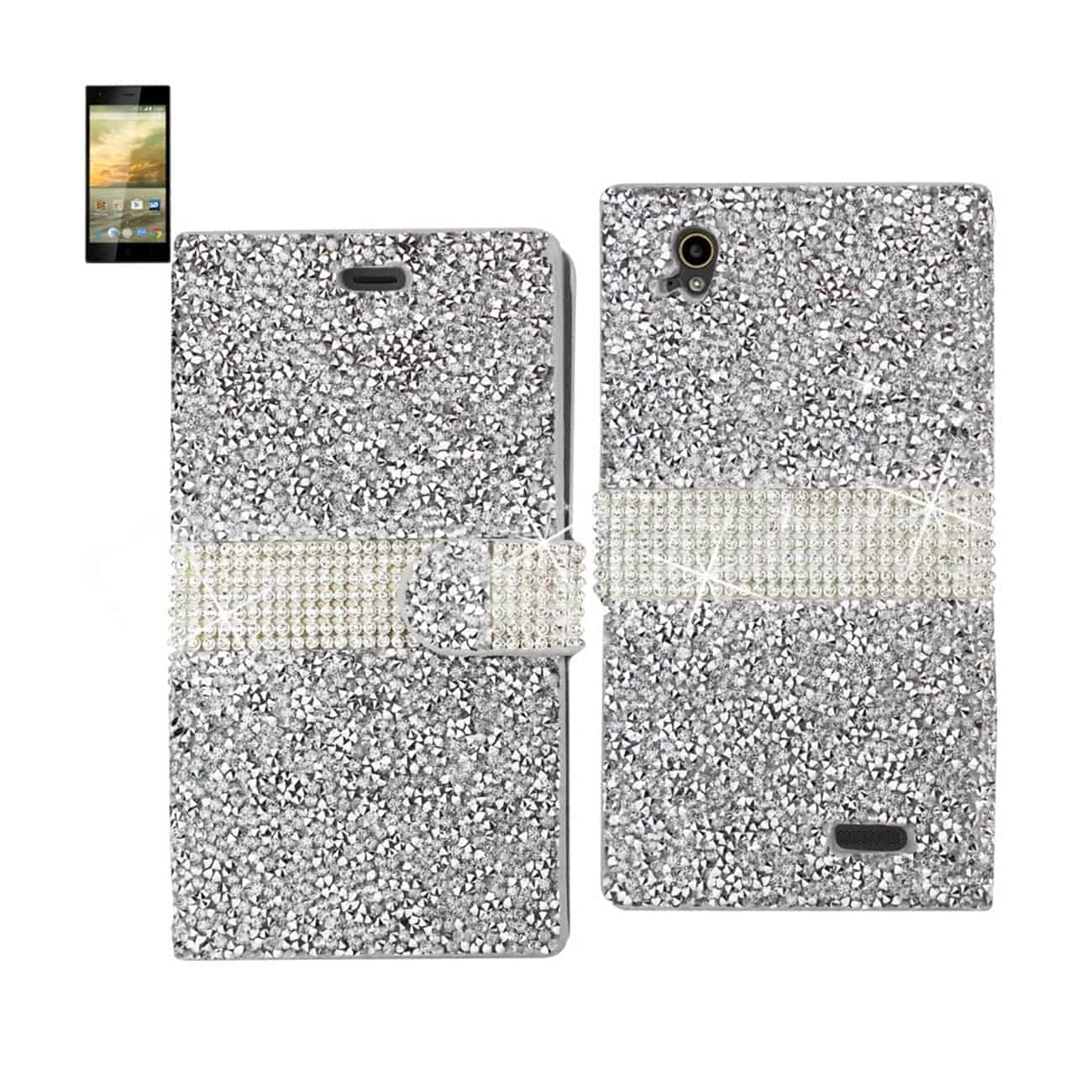 ZTE WARP ELITE JEWELRY RHINESTONE WALLET CASE IN SILVER