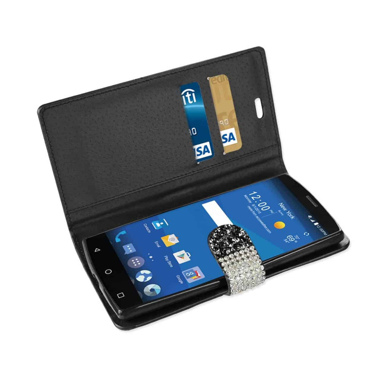 ZTE ZMAX 2 JEWELRY RHINESTONE WALLET CASE IN BLACK