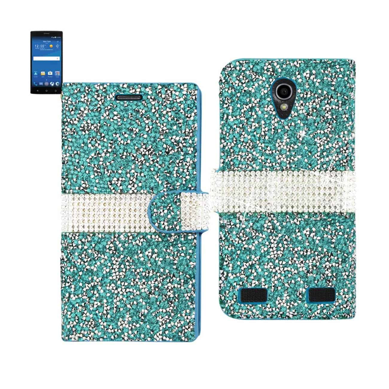 ZTE ZMAX 2 JEWELRY RHINESTONE WALLET CASE IN BLUE