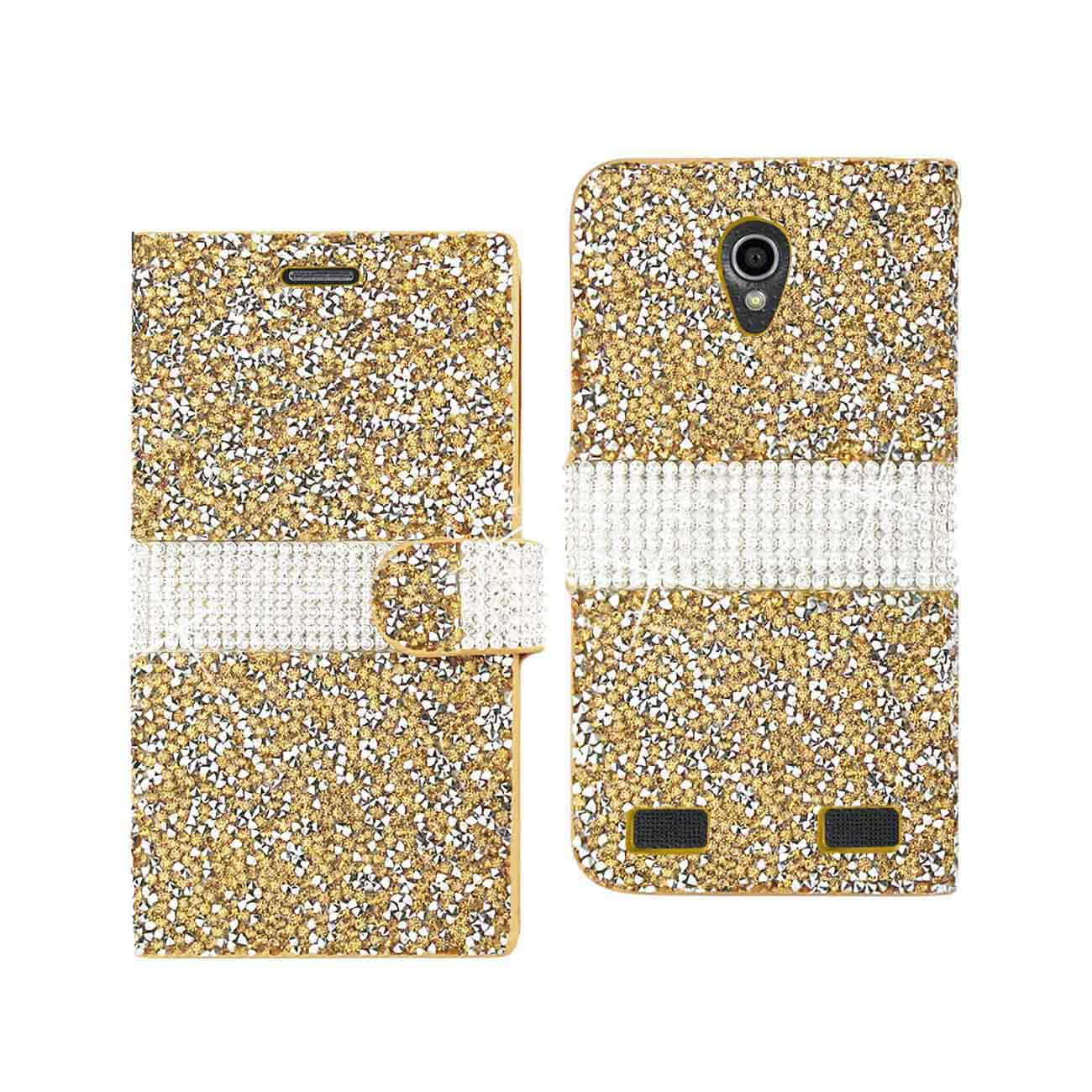 ZTE ZMAX 2 JEWELRY RHINESTONE WALLET CASE IN GOLD