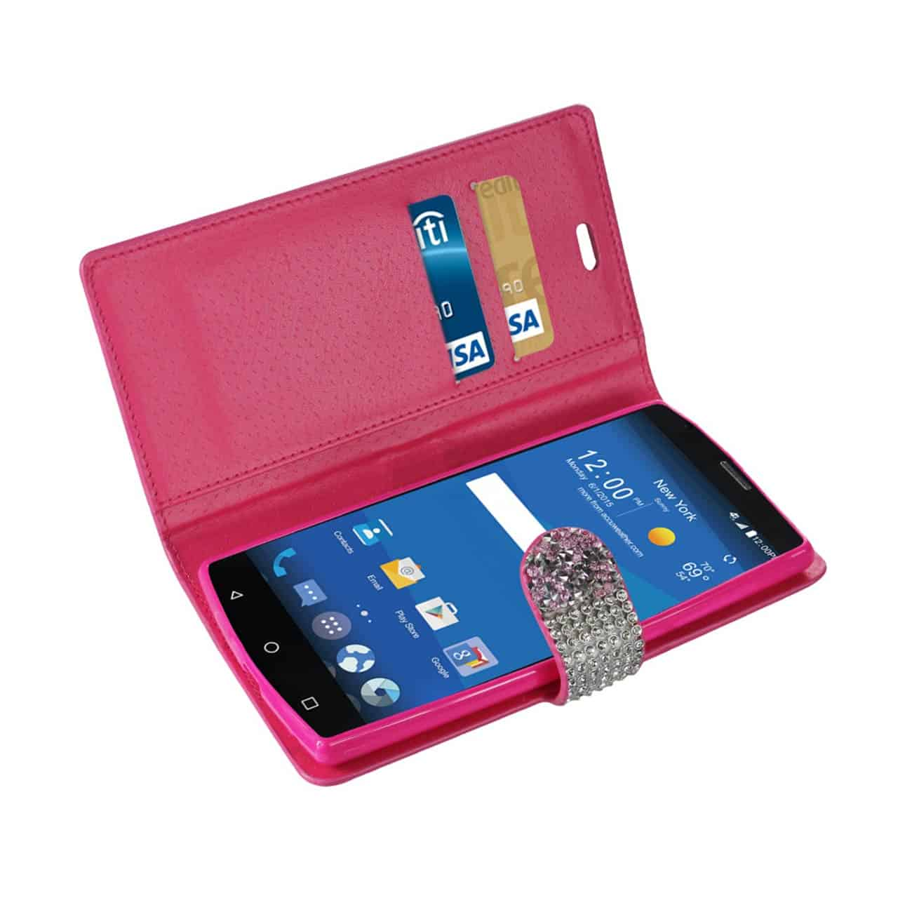 ZTE ZMAX 2 JEWELRY RHINESTONE WALLET CASE IN PINK