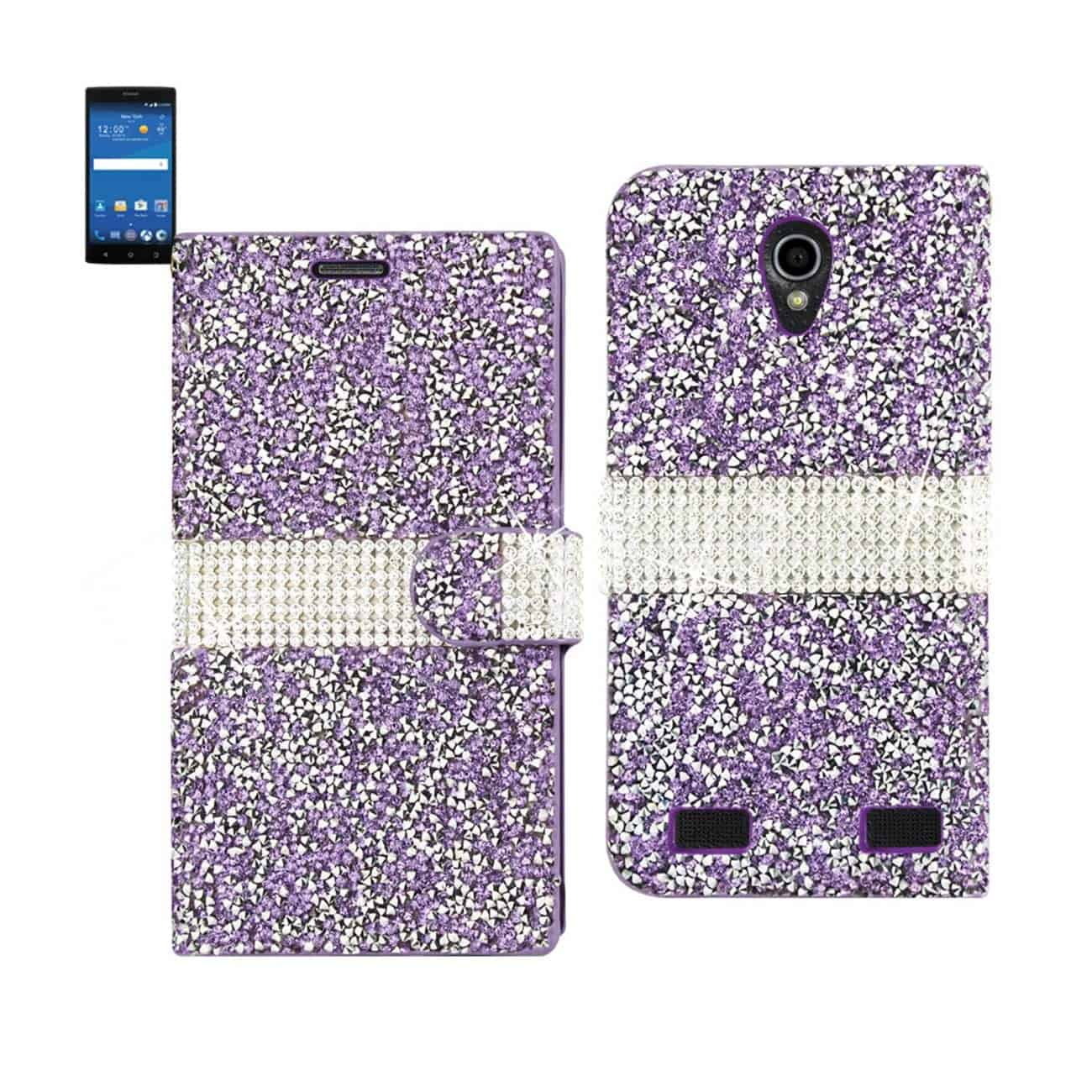 ZTE ZMAX 2 JEWELRY RHINESTONE WALLET CASE IN PURPLE