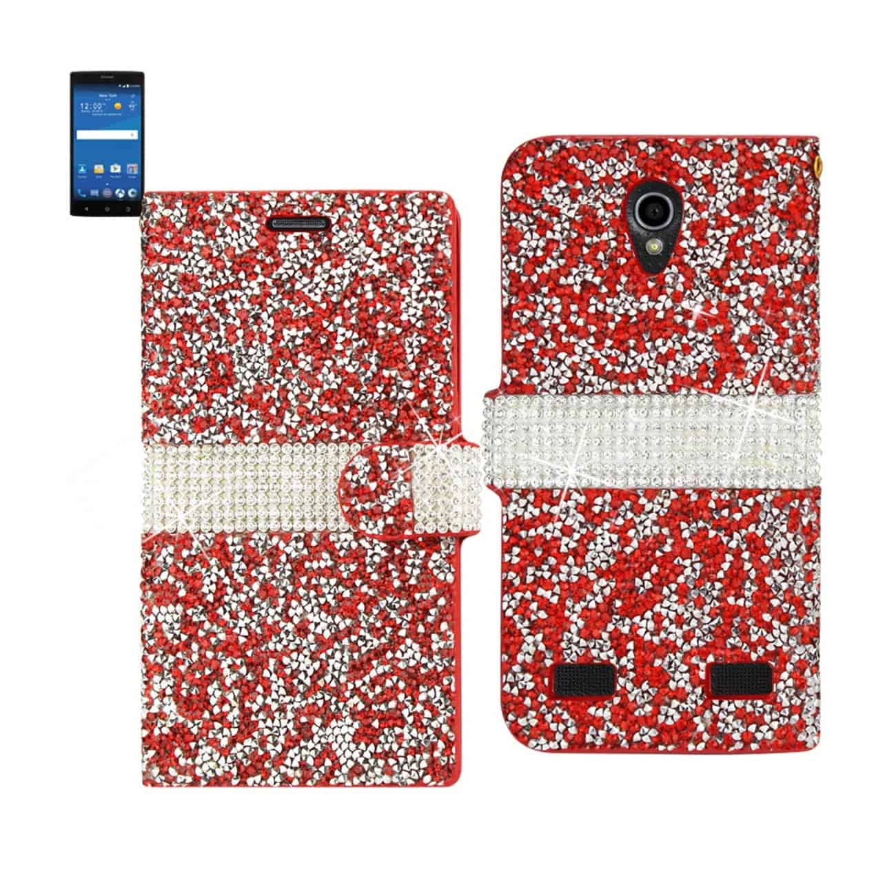 ZTE ZMAX 2 JEWELRY RHINESTONE WALLET CASE IN RED