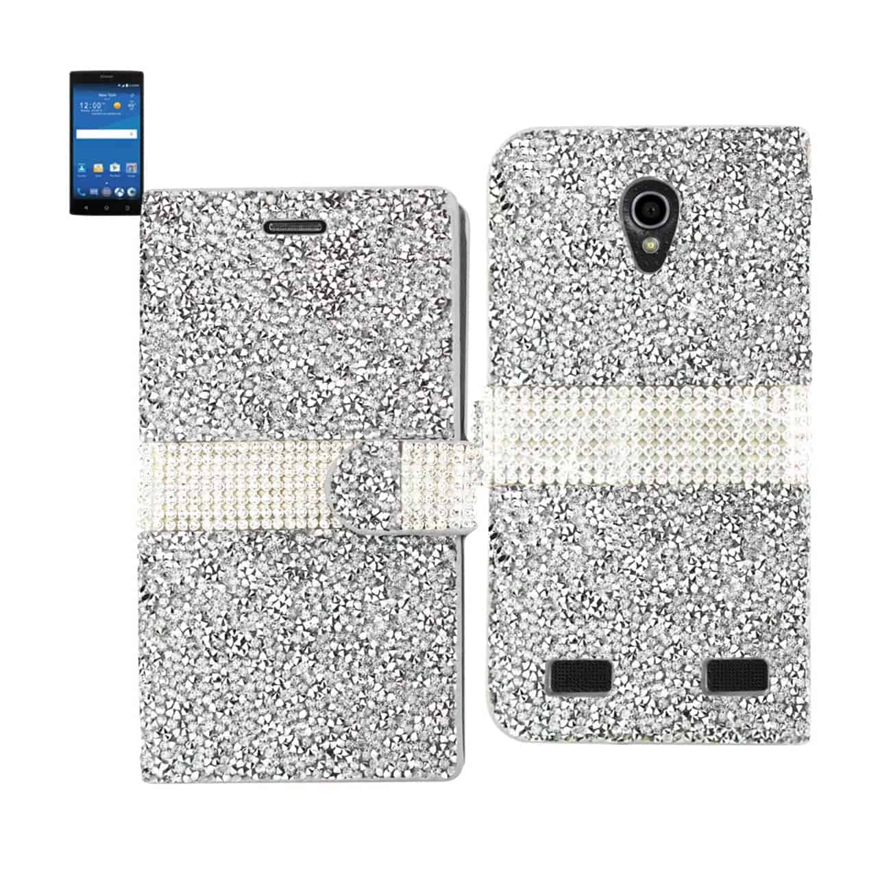 ZTE ZMAX 2 JEWELRY RHINESTONE WALLET CASE IN SILVER