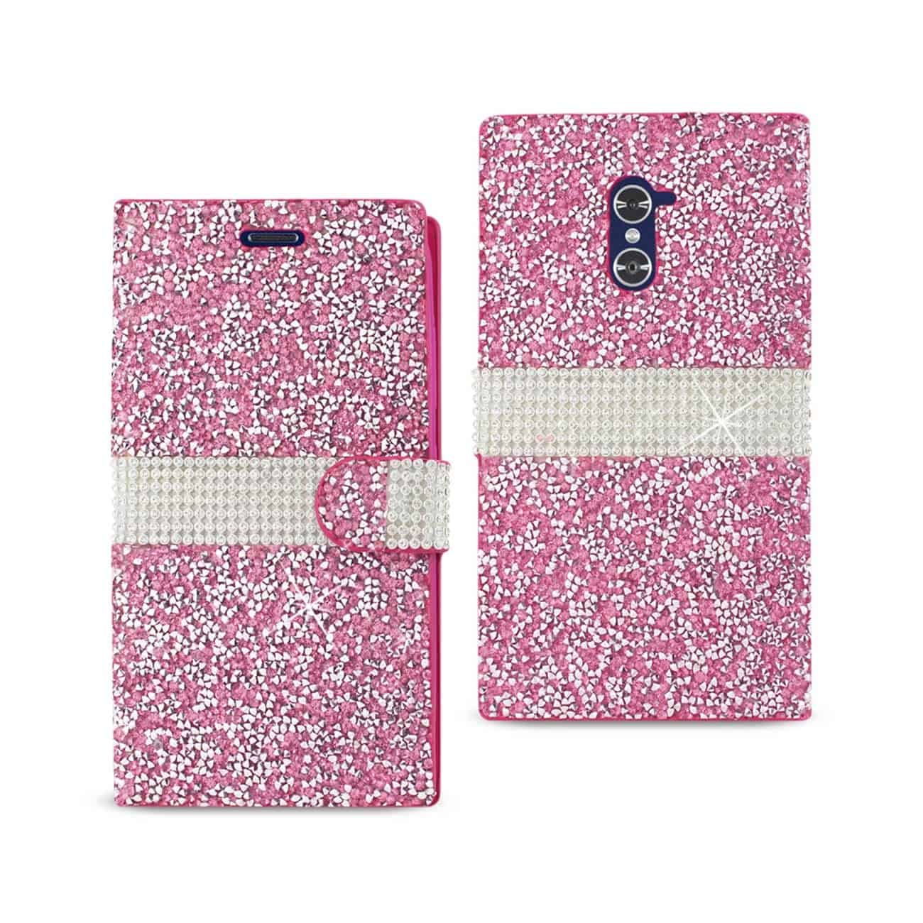 ZTE GRAND X MAX 2 JEWELRY RHINESTONE WALLET CASE IN PINK
