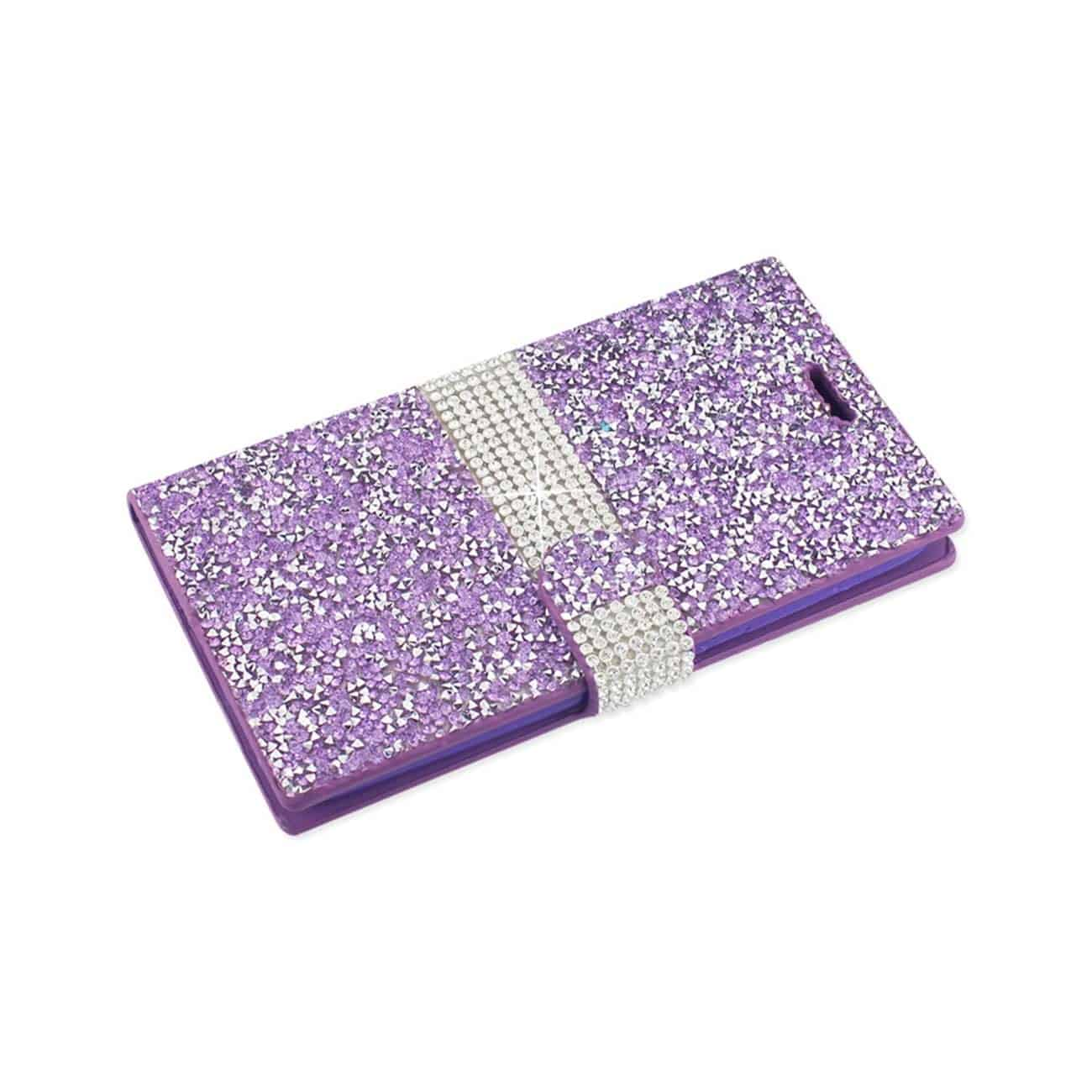 ZTE GRAND X MAX 2 JEWELRY RHINESTONE WALLET CASE IN PURPLE