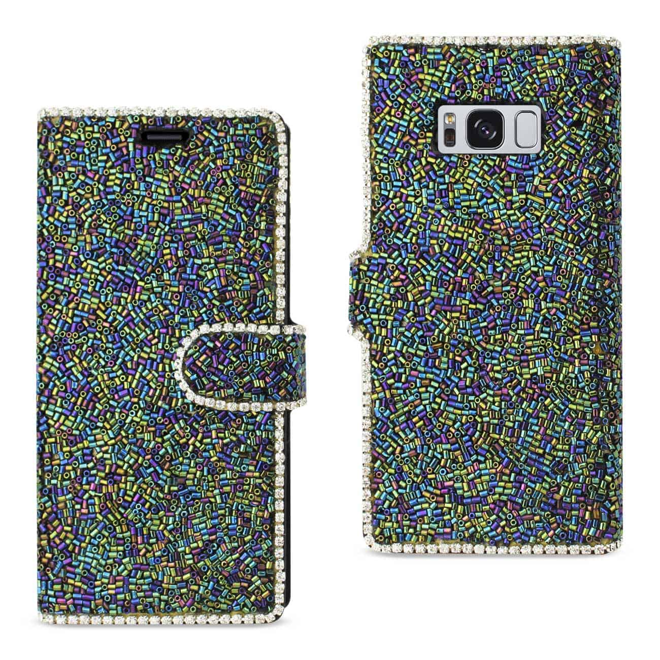 SAMSUNG GALAXY S8/ SM BEAD DIAMOND WALLET CASE IN BLACK