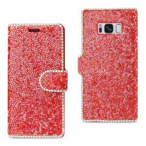 SAMSUNG GALAXY S8/ SM BEAD DIAMOND WALLET CASE IN RED