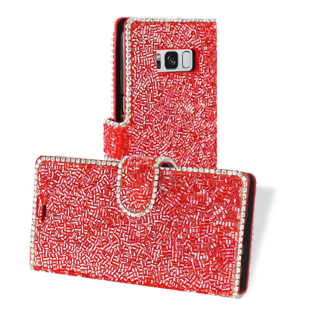 SAMSUNG GALAXY S8/ SM BEAD DIAMOND WALLET CASE IN RED