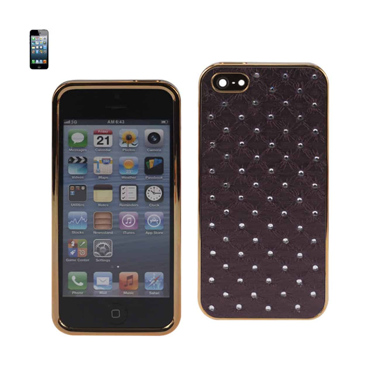 IPHONE 5/5S/SE JEWELRY DIAMOND STUDS CASE IN DARK PURPLE