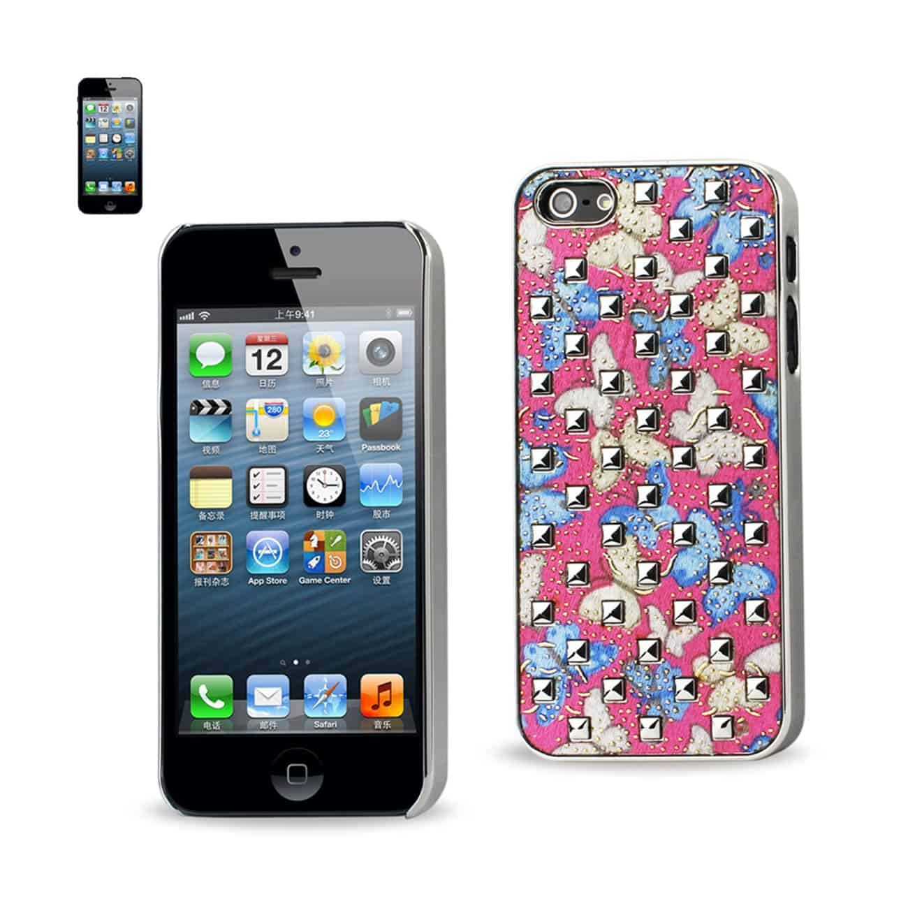IPHONE SE/ 5S/ 5STUDDED PLATING RIVETS BUTTERFLIES DESIGN CASE IN BLUE