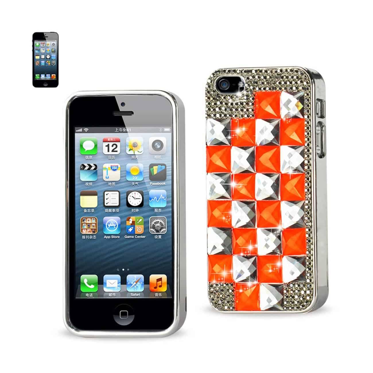 Chain Diamond Case For Iphone5 Orange&Gray Square Pattern Silver Orange